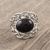 Black star diopside cocktail ring, 'Stylish Grace' - Sterling Silver Black Star Diopside Cocktail Ring