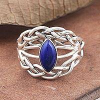 Lapis lazuli cocktail ring, 'Lapis Majesty' - Hand Crafted Lapis Lazuli and Sterling Silver Cocktail Ring
