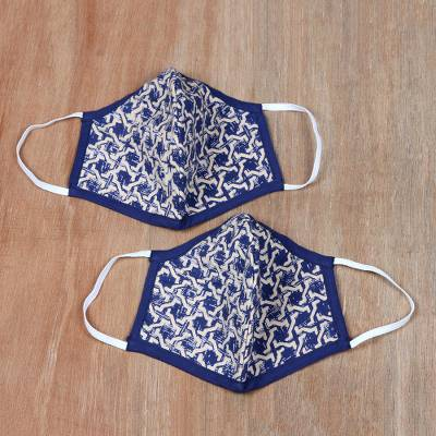 Cotton face masks, 'Entwined' (pair) - Contoured Cotton Face Masks from India (Pair)