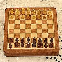 Wood travel chess set, 'Idle Hours' - Hand Crafted Acacia and Haldu Wood Chess Set