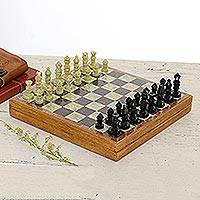 Soapstone chess set, 'Royal Charm' - Soapstone Self-Storing Chess Set from India
