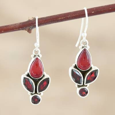 Garnet and carnelian dangle earrings, 'Passionate Red' - Handmade Garnet and Carnelian Gemstone Dangle Earrings