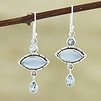 Blue topaz and chalcedony dangle earrings, 'Blue Fusion' - Chalcedony and Blue Topaz Sterling Silver Dangle Earrings