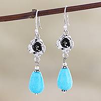Agate dangle earrings, 'Blue Parasol' - Artisan Crafted Blue Agate Dangle Earrings from India