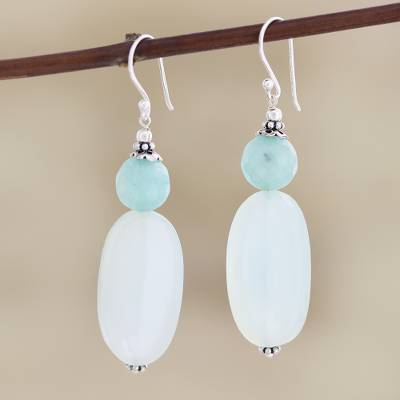 Chalcedony dangle earrings, 'Early Spring' - Hand Crafted Aqua Chalcedony Dangle Earrings