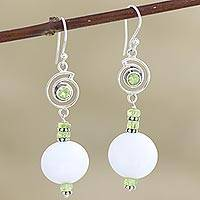 Agate and peridot dangle earrings, 'Spring Chill' - Handcrafted Agate and Peridot Dangle Earrings from India