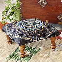 Upholstered ottoman foot stool, 'Floral Ignite' - Multicolored Mandala Motif Ottoman with Wood Legs