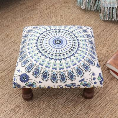 Upholstered ottoman foot stool, 'Grand Mandala in Blue' - Multicolored Mandala Motif Ottoman with Wood Legs