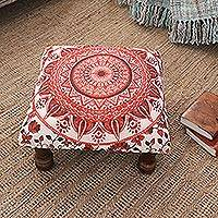 Upholstered ottoman foot stool, 'Red Floral Mandala' - Red Mandala Motif Ottoman with Wood Legs