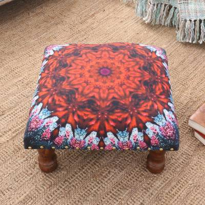 Upholstered ottoman foot stool, Heavenly Flower