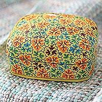 Papier mache decorative box, 'Buttercup Foliage' - Handmade Yellow Papier Mache Leaf Motif Decorative Box