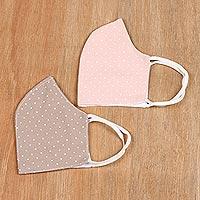 Cotton face masks, 'Subtle Dots' (pair) - Polka Dotted Three Layer Cotton Face Masks (Pair)