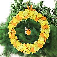Wool felt wreath, 'Festive Greetings' - Wool Felt Wreath in Autumn Colors