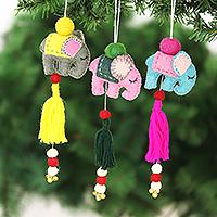 Wool felt ornaments, 'Entertaining Elephants' (set of 3) - Set of 3 Wool Felt Elephant Ornaments