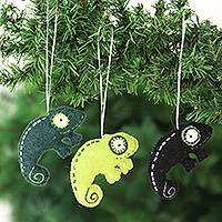 Wool felt ornaments, 'Lizard Tales' (set of 3)
