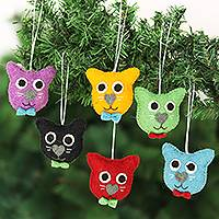 Wool felt ornaments, 'Dapper Cats' (set of 6)
