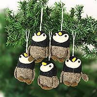 Wool felt ornaments, 'Penguin Charm' (set of 5) - Wool Felt Penguin Ornaments Set of 5