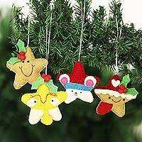 Wool felt ornaments, 'Star Cookies' (set of 4) - Set of 4 Wool Felt Gingerbread Star Ornaments