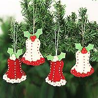 Wool felt ornaments, 'Holly Bells' (set of 4)