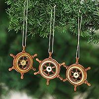 Wood and brass ornaments, 'Ahoy!' (set of 3) - Set of 3 Wood Ship's Wheel Ornaments