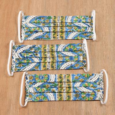 Cotton face masks, 'Pretty Posies' (set of 3) - 3 Pleated Blue & Yellow Indian Block Print Cotton Masks