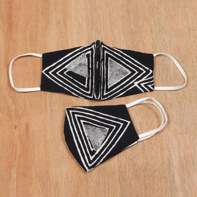 Cotton face masks, 'Twin Pyramids' (pair) - 2 Modern B&W Indian Block Print Cotton Face Masks