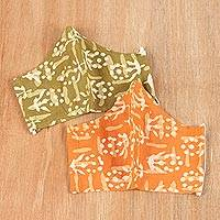 Cotton face masks, 'Batik Floral' (pair) - Pair of Orange and Green Cotton Batik Face Masks