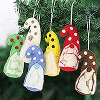 Wool felt ornaments, 'Holiday Gnomes' (set of 6) - Wool Felt Gnome Ornaments (Set of 6)