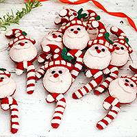 Wool felt ornaments, 'Candy Cane Santas' (set of 9) - Set of 9 Santa Candy Cane Wool Felt Ornaments