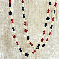 Wool felt garlands, 'Patriotic Stars' (pair) - Red White and Blue Wool Felt Garlands (Pair)