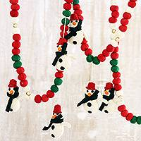 Wool felt garland, 'Christmas Streamer' (pair) - Wool Felt Snowman and Pompom Garlands Pair