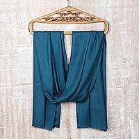 Wool and silk blend shawl, 'Teal Appeal' - Woven Wool and Silk Teal Shawl from India
