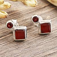 Carnelian and garnet drop earrings, 'Harmony in Red' - Carnelian and Garnet Sterling Silver Drop Earrings