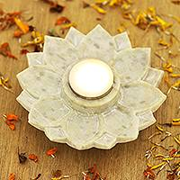 Soapstone tealight holder, 'Lotus Glory' - Hand Carved Soapstone Tealight Holder