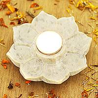 Soapstone tealight holder, 'Floral Flame' - Hand Carved Soapstone Tealight Holder