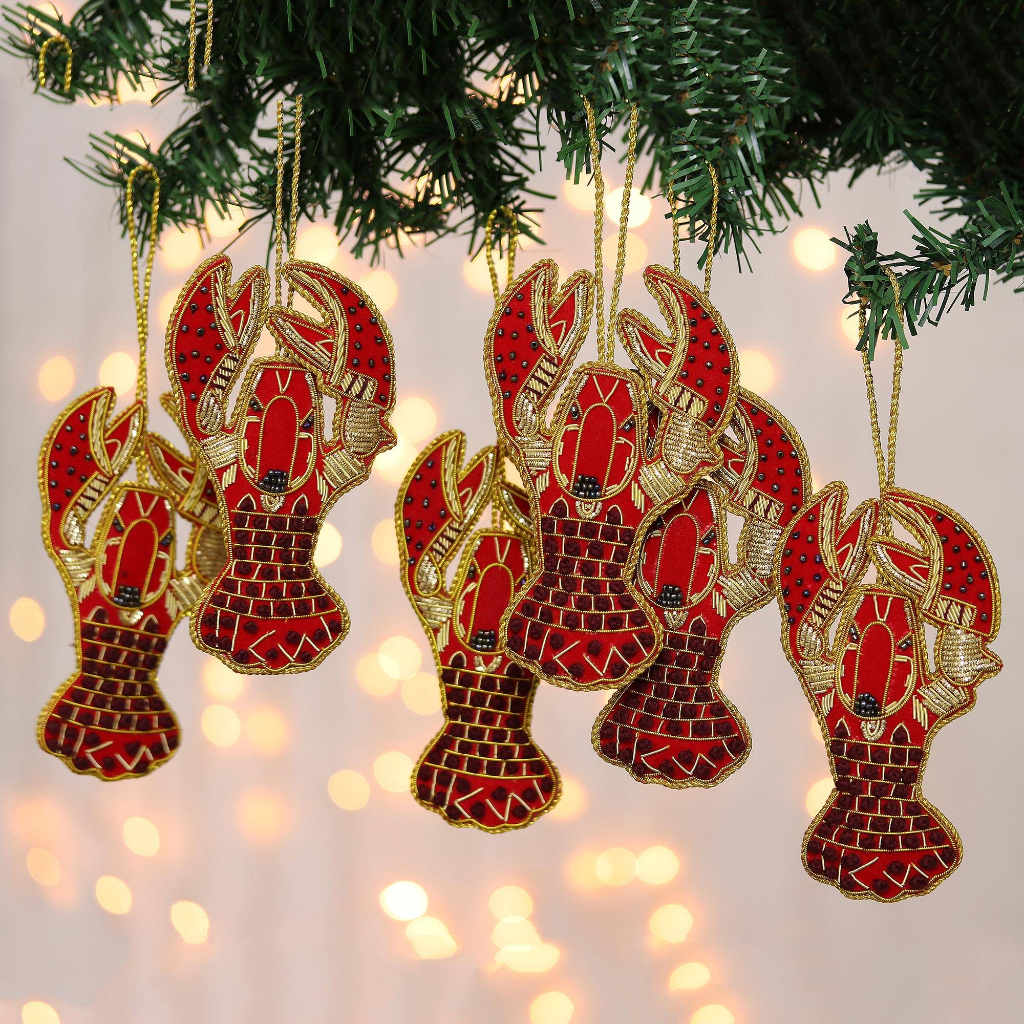 Beaded And Embroidered Lobster Ornaments Set Of 6 Holiday Lobsters Novica