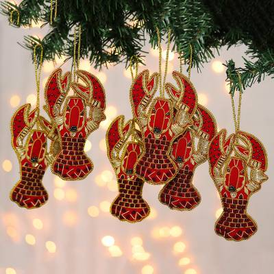 Beaded velvet ornaments, 'Holiday Lobsters' (set of 6) - Beaded and Embroidered Lobster Ornaments (Set of 6)