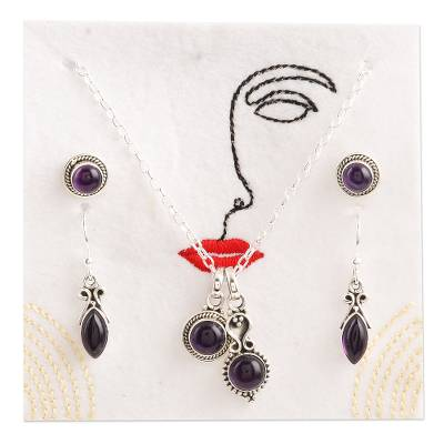 Amethyst jewelry set, 'Passionate Purple' - Handmade Amethyst and Sterling Silver Jewelry Set