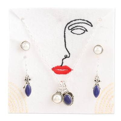Cultured pearl and lapis lazuli jewelry set, 'Ocean Treasure' - Handmade Cultured Pearl and Lapis Lazuli Jewelry Set