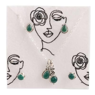 Onyx jewelry set, 'Garden Muse' - Hand Made Green Onyx and Sterling Silver Jewelry Set