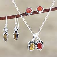 Carnelian and tiger's eye jewelry set, 'Trust Yourself' - Hand Made Carnelian and Tiger's Eye Jewelry Set