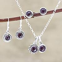 Garnet jewelry set, 'Devoted' - Hand Made Garnet and Sterling Silver Jewelry Set