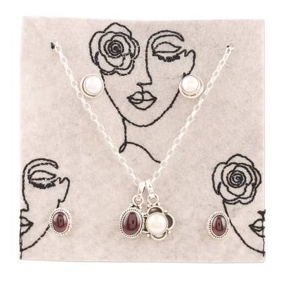 Freshwater pearl and garnet jewelry set, 'Pure Romance' - Handmade Garnet and Freshwater Pearl Jewelry Set