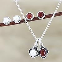 Cultured pearl and carnelian jewelry set, 'Light and Fire' - Hand Crafted Carnelian and Cultured Pearl Jewelry Set