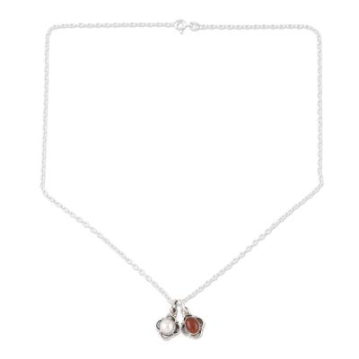Cultured pearl and carnelian jewelry set, 'Fire and Ice' - Hand Crafted Carnelian and Cultured Pearl Jewelry Set