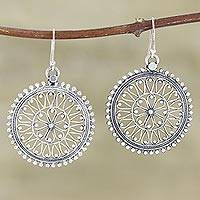 Sterling silver dangle earrings, 'At Noon' - Hand Made Sterling Silver Dangle Earrings from India
