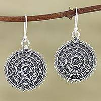 Sterling silver dangle earrings, 'Concentric Circles' - Hand Crafted Sterling Silver Dangle Earrings from India