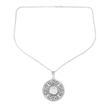 Sterling silver pendant necklace, 'A Reminder' - Hand Made Sterling Silver Om Dangle Earrings from India