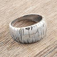 Sterling silver domed ring, 'Vaulted' - Hand Crafted Sterling Silver Domed Ring
