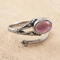 Amethyst wrap ring, 'Summer Berries' - Hand Made Amethyst and Sterling Silver Wrap Ring